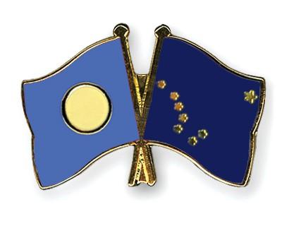 Crossed Flag Pins Palau-Alaska