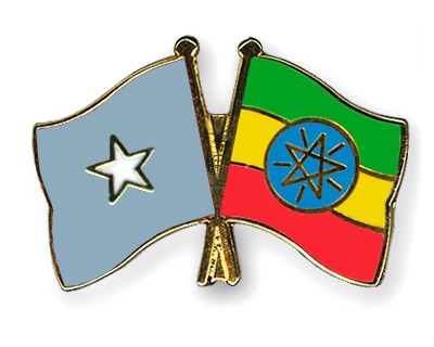 Crossed Flag Pins Somalia-Ethiopia