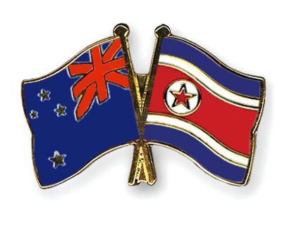 Crossed Flag Pins New-Zealand-North-Korea