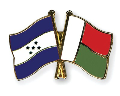 Crossed Flag Pins Honduras-Madagascar