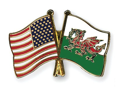 Crossed Flag Pins USA-Wales