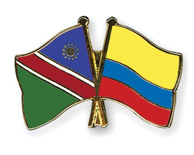 Crossed Flag Pins Namibia-Colombia