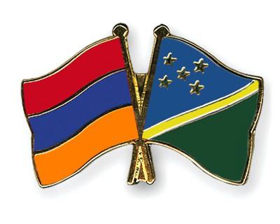 Crossed Flag Pins Armenia-Solomon-Islands