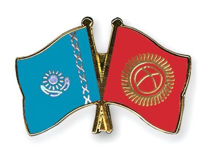 Crossed Flag Pins Kazakhstan-Kyrgyzstan