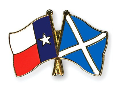 Crossed Flag Pins Texas-Scotland