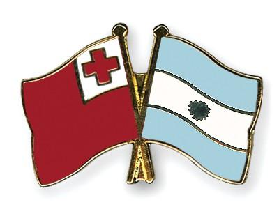 Crossed Flag Pins Tonga-Argentina